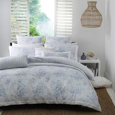 Characteristics of the Bronte Blue quilt cover set by Logan and Mason: Bronte Blue creates an elegant statement in the bedroom. A delicate print in powder blue features floral sprays and butterflies, framed by white pleats. Bedroom Color Schemes, Bedroom Colors, Bedroom Ideas, Bed Linen, Linen Bedding, Blue Duvet, Bedding Basics, Quilt Cover Sets, Beautiful Bedrooms