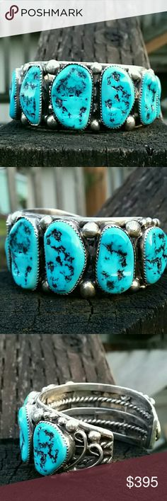 Vintage Sterling Silver Turquoise Bracelet Beautiful high grade turquoise sterling silver cuff bracelets 7 turquoise stones bezel set. This authentic Native American Indian handcrafted Sterling cuff bracelet weighs 115 G. This is true craftsmanship at its best at its best! Wearable art! Vintage Jewelry Bracelets