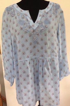 606a3928cf13da J. Jill Blue Rayon Tunic Shirt Top Tunic Embroidered Floral Boho Size L EUC  #