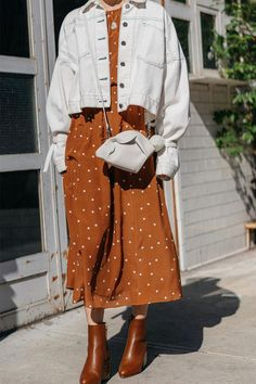"6 Trends That Are So ""Summer summer polka dots White denim jacket brown dress modern vintage - Global Outfit Experts Fashion Mode, Modest Fashion, Look Fashion, Korean Fashion, Fashion Outfits, Fashion Boots, Dress Fashion, Trendy Fashion, Fashion Clothes"