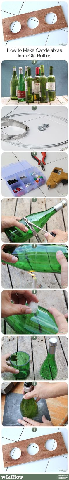 How to Make Candelabras from Old Bottles, from wikiHow.com