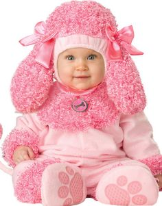 Cute Infant Baby Girls Pink Precious Poodle Puppy Dog Halloween Costume S-L