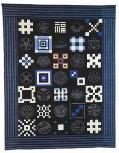 Japanese sampler quilt from the book 'Japanese Quilt Blocks to Mix and Match' by Susan Briscoe (UK)
