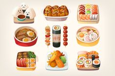 Japanese Food Stickers by moonery Set of realistic illustrations of japanese cuisine dishes nicely served on traditional plates. Japanese Food Art, Japanese Dishes, Traditional Mexican Food, Traditional Japanese, Traditional Kitchen, Mexican Food Dishes, Food Stickers, Food Icons, Food Drawing