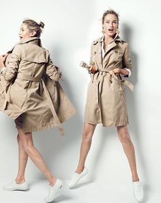 J.Crew women's washed cotton trench coat, fun floral-and-crystal earrings and SeaVees® for J.Crew Legend sneakers.