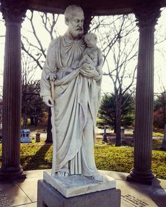 """Our craftsmen carved a new hand and staff for the Statue of St. Joseph. Nearly 30 years after the vandalism took place, the """"Temple of Love"""" monument is now restored to its original beauty."""