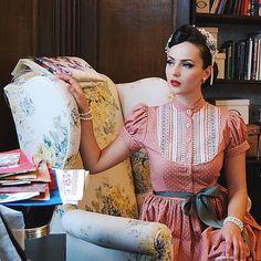 @lenahoschek tradition spring/summer 2015 Gretl Dress Rosa  #lenahoschek…