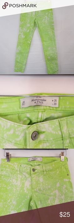 """Abercrombie & Fitch Neon Acid Wah Jeans Abercrombie & Fitch Neon Green Acid Wash Jeans  Waist: 14"""" Rise: 7.5"""" Inseam: 29"""" Abercrombie & Fitch Jeans"""