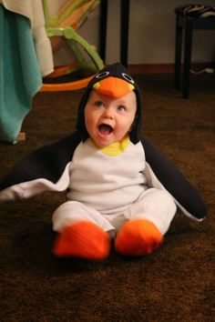 #baby dressed as a #penguin...how cute would this be for #Halloween!