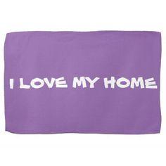 "KITCHEN TOWELS KITCHEN TOWEL with cute message ""I LOVE MY HOME"" Kitchen Towel Purple. Machine wash.. $18.25"