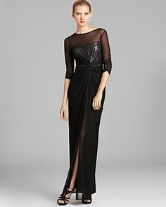 dc9f8dbee4c7 Adrianna Papell Veiled Sequin Gown - Three Quarter Sleeves Bloomingdale s  Sequin Gown