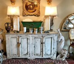 """Painted French Server   65"""" Wide x 35.5"""" High x 21.5"""" Deep   $5600  Clutter Antiques 5015 Lovers Lane Dallas, TX 75209"""