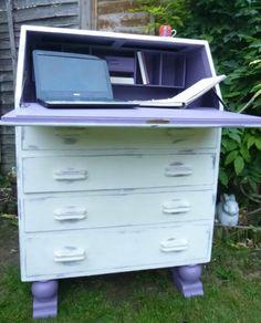 Vintage Writing Bureau Desk Drawers Shabby Chic Annie Sloan White Lilac Storage