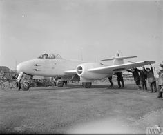 A British Gloster Meteor the first operational Allied jet fighter is pushed to its dispersal point. The Meteors were painted entirely white while operating over mainland Europe so they would not be mistaken for German Me The Meteor never saw. Navy Aircraft, Ww2 Aircraft, Military Jets, Military Aircraft, Gloster Meteor, Messerschmitt Me 262, South African Air Force, Air Festival, Royal Air Force