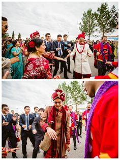 Groom and his family dancing during Barat before East Indian Wedding ceremony in Calgary. Photos by Sujata Photography