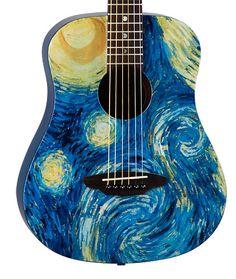 Safari Starry Night Travel Guitar w/Bag Acoustic Guitar Art, Ukulele Art, Guitar Drawing, Guitar Painting, Ukelele Painted, Painted Guitars, Arte Van Gogh, Luna Guitars, Acrylic Painting Inspiration