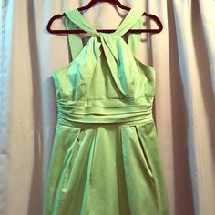 David Bridal clover green bridesmaid dress Charming David's Bridal bridesmaids dress. It's clover green with a zipper down the back. Very classy and comfortable great for wearing to a wedding or special event. Best part: it has pockets! David's Bridal Dresses Wedding