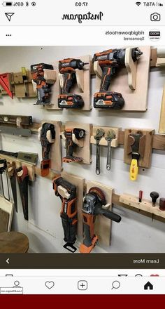 Garage Organisation, Garage Tool Storage, Workshop Storage, Garage Tools, Shed Storage, Organization Ideas, Workshop Ideas, Garage Ideas, Power Tool Storage