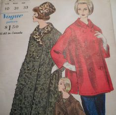 a4aceea358 Vintage 1960 s Vogue 5639 Coat Sewing Pattern Size 10 Bust 31