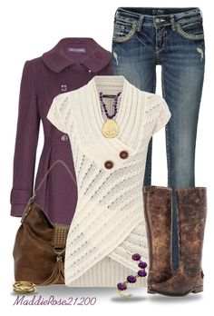 Amethyst by maddierose21200 on Polyvore featuring polyvore, fashion, style, Jane Norman, Silver Jeans Co., Frye, New Look, Nest, TOMS, trenchcoat and sweaterdress