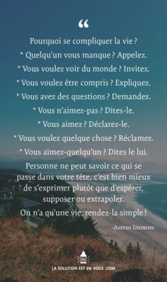 La vie serait plus simple. Words Quotes, Life Quotes, Burn Out, French Quotes, Positive Attitude, Positive Things, Some Words, Positive Affirmations, Decir No