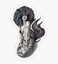 """Goddess of the Sea"" Sticker by BflybyDesign Afro Tattoo, Head Tattoos, Girl Tattoos, Siren Tattoo, Script Tattoos, Tattoo Neck, Hamsa Tattoo, Arabic Tattoos, Bodysuit Tattoos"