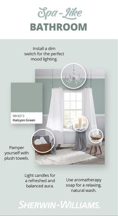 Muted palettes are anything but a bore! Transform your bathroom into a personal retreat using any of these Sherwin-Williams hues like Autumn Orchid SW 9157, Whirlpool SW 9135 and the August Color of the Month, Queen Anne Lilac SW 0021. But there's more to paradise than paint! Here are some tips on how to use décor to elevate your space.