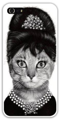 FREE SHIPPING! Audrey Hepburn Breakfast at Tiffany's Kitty Cat Cell Phone Case Cover iPhone 4 4S 5 5S Samsung Galaxy S3 S4 Cats Kitties