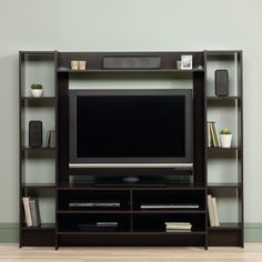Premium Entertainment Center - Living Room Style Furniture Modern Home Design. Gives effortless style to your living room with this essential entertainment center. It features an openwork design and cinnamon cherry finish. You can use the center shelf to prop up a flat screen TV, then arrange framed photos, vases, and more on the flanking bookcases. Made in USA. Overall: 58.5'' H x 66.3'' W x 15.51'' D, Overall Product Weight: 111lb.