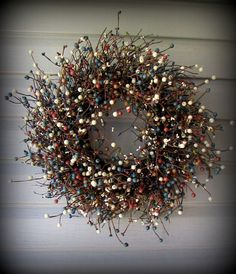 """New Wreath -Blue,Cream,Green,Burnt Red Very Berry Pip Wreath-16""""-Simple -NEW"""