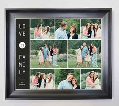Love is Family - Personalised Framed Photo Collages & Gifts for Christenings, Weddings, Holidays & Any Special Occasions - Buy Now @ domore. Photo Collage Gift, Family Photo Collages, Family Photo Frames, Family Photos, Life Photo, Best Memories, Large Prints, Candid, Colours