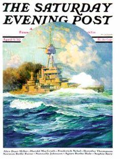 Saturday Evening Post - 1932-04-09: Battleship at Sea (Anton Otto Fischer)