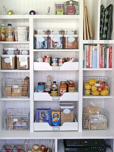 Rolling shelves in the pantry