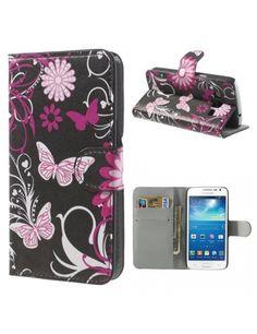Δερμάτινη Θήκη Πορτοφόλι με Βάση Στήριξης για Samsung Galaxy Express 2 G3815 - Πεταλούδα με λουλούδια σε μαύρο φόντο