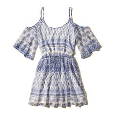 Hollister Pattern Cold Shoulder Dress (420 EGP) ❤ liked on Polyvore featuring dresses, white pattern, pattern dress, print dresses, white print dress, mixed print dress and cut-out shoulder dresses
