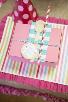 """How cute is this for a favor box to put all of your decorated cookies in.  Love it!  Cute for Christening or 1st Birthday. Love the """"kids decorating cookies"""" idea for a 1st birthday."""