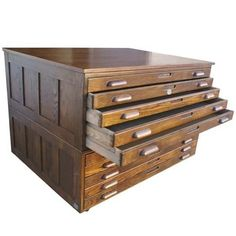 Hamilton Oak Flat File System from Metro Retro Furniture Blast from the Past: 10 Flat File Cabinets (lots of other flat file cabinets here. Also like the glass top one. Studio Furniture, Retro Furniture, Office Furniture, Antique Furniture, Diy Furniture, File Cabinet Furniture, Flat File Cabinet, Printer Cabinet, Flat Files