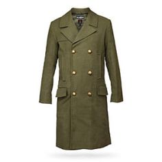 ThinkGeek :: Doctor Who Doctor's Green Jacket Unfortunately, this coat is very expensive. That said, I am not wanting this coat in particular. I want a green trench coat. A dark green. This color, to be precise. Wool Overcoat, Wool Trench Coat, Green Coat, Green Jacket, 11th Doctor, Doctor Who, Doctor Coat, Movie Tees, Holiday Sweater