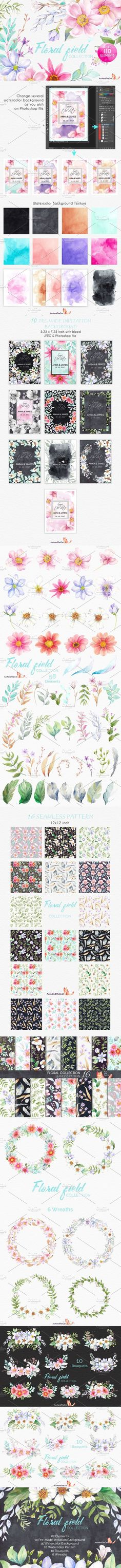 FLORAL FIELD collection . Watercolor Flowers