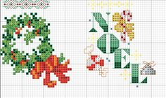 Cross-stitch Mini Christmas Stockings, part 1... no color chart, just use pattern chart colors as your guide.. or choose your own colors....     Kreuzstich
