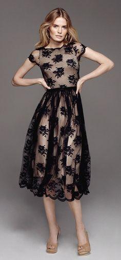Black Lace Sheer Formal Dress