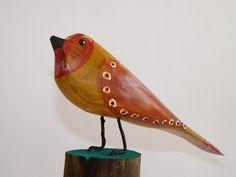 Folk Art Wooden Bird Carving by John  Lynch on ARTwanted