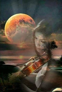 Good night to my Mom in heaven! Keep playing your beautiful music to the angels. Double Exposure Photography, Art Photography, Double Exposition, Moon Pictures, Montage Photo, Multiple Exposure, Beautiful Moon, Moon Art, Surreal Art