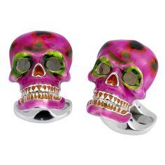 DEAKIN & FRANCIS Pink & Green Mexican Skull Cufllinks   1stdibs.com