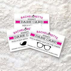 Get the party started and the ladies interacting with these entertaining Bachelorette Night Dare Cards! These sassy cards are sure to be a HUGE hit! • • • • • HOW IT WORKS • • • • • 1. Download the PDF 2. Print at home 3. Cut out the cards and distribute 4. Sit back and watch all the ladies laugh as they read their dare. Good job!   • • • • • HOW TO PLAY • • • • • Print and cut the cards out and place them into a hat. Before the night begins, have each lady pick a card. Each lady must…