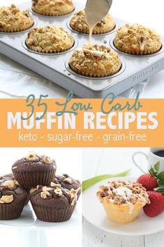 All the best low carb and keto muffin recipes right here! So many easy ways to make your keto breakfast more interesting. All the best low carb and keto muffin recipes right here! So many easy ways to make your keto breakfast more interesting. Keto Diet Drinks, Vegan Keto Diet, Keto Snacks, Paleo, Low Carb Keto, Ketogenic Diet, Diet Desserts, Keto Meal, Keto Muffin Recipe