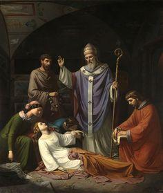 Luis de Madrazo 'La obra representa el entierro de la mártir cristiana Santa Cecilia en las catacumbas de la ciudad de Roma' (1852)