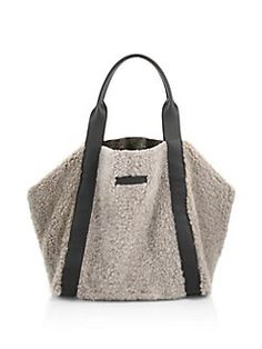 Brunello Cucinelli - Large Reversible Shearling & Metallic Leather Tote