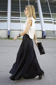 Black Pleated Skirt. Lace ALAIA Shoes. Black GIVENCHY Rottweiler Clutch ~PARIS