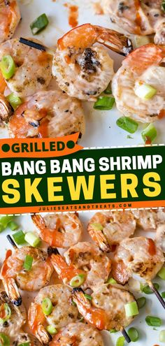 These Grilled Bang Bang Shrimp Skewers are the perfect Father's Day grilling ideas or 4th of July BBQ food - shrimps slathered with a spicy, creamy, sweet chili sauce. Heat up the grill and enjoy this summer grilling recipe!